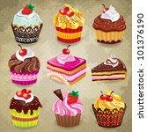 vintage cupcake set   Shutterstock .eps vector #101376190