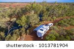 aerial view of caravan and four ... | Shutterstock . vector #1013781904