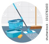 house cleaning service round... | Shutterstock .eps vector #1013782603