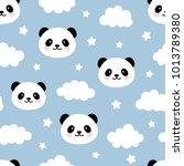 cute panda seamless pattern ... | Shutterstock .eps vector #1013789380