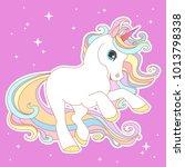 Stock vector white unicorn with rainbow hair vector illustration for children design cute fantasy animal 1013798338
