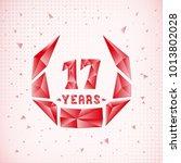 17 years anniversary design... | Shutterstock .eps vector #1013802028