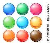 round spheres set. set opaque... | Shutterstock . vector #1013812009