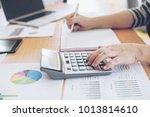 close up hand of business... | Shutterstock . vector #1013814610
