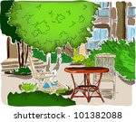 cafe in the garden. vector... | Shutterstock .eps vector #101382088