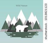 wildlife  a polar bear against... | Shutterstock .eps vector #1013821123