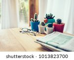 office workplace with newspaper ... | Shutterstock . vector #1013823700
