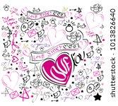 set of romantic vector icon in... | Shutterstock .eps vector #1013826640