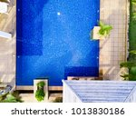 swimming pool with blue water... | Shutterstock . vector #1013830186