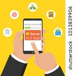 concept for mobile banking and... | Shutterstock .eps vector #1013839906