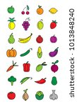 colorful set of vector icons... | Shutterstock .eps vector #1013848240
