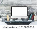 Close Up Of Modern Desk Top...