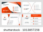 set of 4 business card... | Shutterstock .eps vector #1013857258