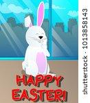 easter bunny holding finger... | Shutterstock .eps vector #1013858143