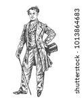 elegant proud man of the... | Shutterstock .eps vector #1013864683