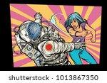 woman vs astronaut  fight. pop... | Shutterstock .eps vector #1013867350