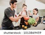 cute little girl and her...   Shutterstock . vector #1013869459