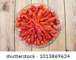 crawfish. boiled red crayfish... | Shutterstock . vector #1013869624