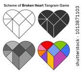 Set Of Broken Heart Tangram...