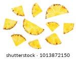 sliced pineapple isolated on... | Shutterstock . vector #1013872150