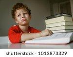 little boy tired stressed of... | Shutterstock . vector #1013873329
