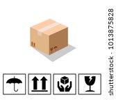 fragile symbol on cardboard... | Shutterstock .eps vector #1013875828