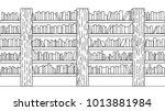 hand drawn books on bookshelf... | Shutterstock .eps vector #1013881984