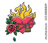 tattoo flaming heart bound by... | Shutterstock .eps vector #1013888809