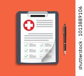 clipboard with medical cross... | Shutterstock .eps vector #1013889106