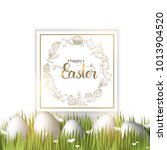 easter poster with eggs on the... | Shutterstock . vector #1013904520