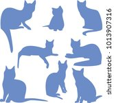 Silhouettes Of Sitting Cats Blue
