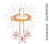 Crown Of Thorns  Wooden Cross...