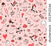 seamless doodle love pattern... | Shutterstock .eps vector #1013910166