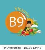 vitamin b9  folate . food...   Shutterstock .eps vector #1013912443