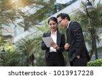 businessman and businesswoman...   Shutterstock . vector #1013917228