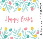easter greeting card with...   Shutterstock .eps vector #1013936929