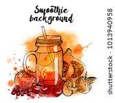 smoothie. watercolor vector... | Shutterstock .eps vector #1013940958