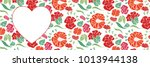 red heart shape with floral... | Shutterstock .eps vector #1013944138