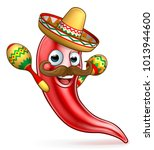 a cartoon red pepper character... | Shutterstock .eps vector #1013944600