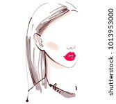 beautiful woman with red lips... | Shutterstock .eps vector #1013953000