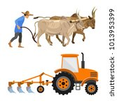 plowing with cattle and farm... | Shutterstock .eps vector #1013953399