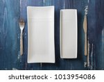 white rectangular plates with... | Shutterstock . vector #1013954086