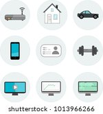 vector icon set  router  house  ... | Shutterstock .eps vector #1013966266