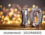 silver number 10 celebration... | Shutterstock . vector #1013968303