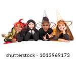 kids with face paint and... | Shutterstock . vector #1013969173