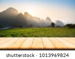 wood table top with blurred... | Shutterstock . vector #1013969824