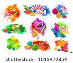 happy holi vector elements for... | Shutterstock .eps vector #1013972854