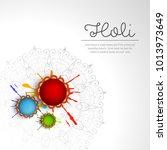 happy holi vector elements for... | Shutterstock .eps vector #1013973649
