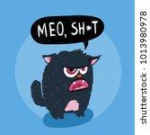 cute monster kitten with text.... | Shutterstock .eps vector #1013980978