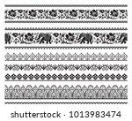set of seamless black ornate... | Shutterstock .eps vector #1013983474